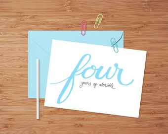 Four years of adorable! Birthday card (Pink/Blue)