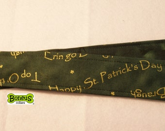 "St Patrick's Day Greyhound Martingale Collar 1.5"" Wide Fabric Lined"