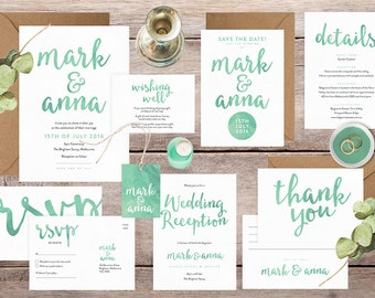 Wedding invitation set, Wedding invitation suite, Wedding invitations Australia, Green wedding invitations, Wedding stationery set