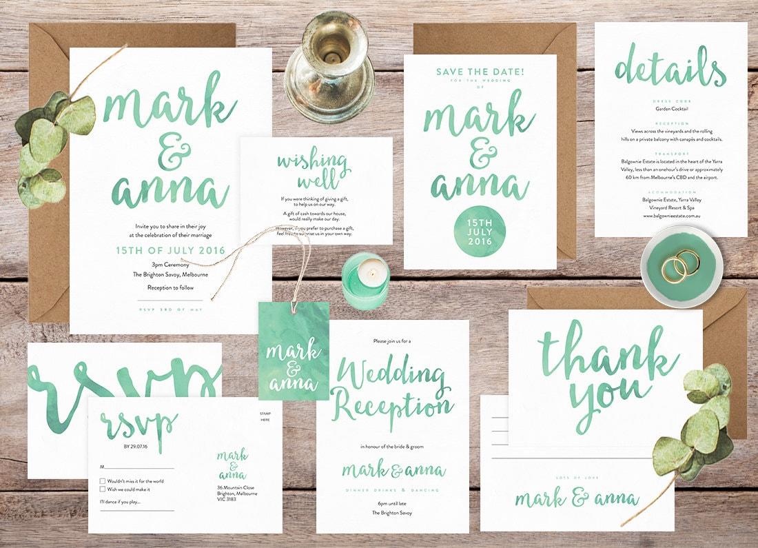 Wedding invitation set, Wedding invitation suite, Wedding invitations Australia, Green wedding invitations, Wedding stationery set