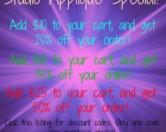 DISCOUNT CODES! Studio Applique