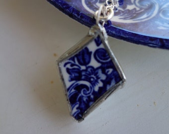 Broken china jewelry- blue and white vintage china necklace- blue and white flower pendant-  blue necklace