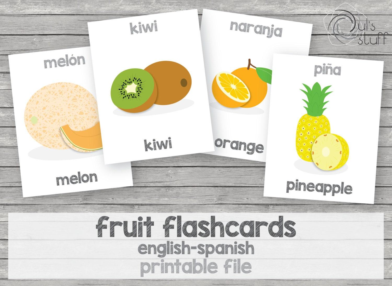 Exhilarating image with spanish english flashcards printable