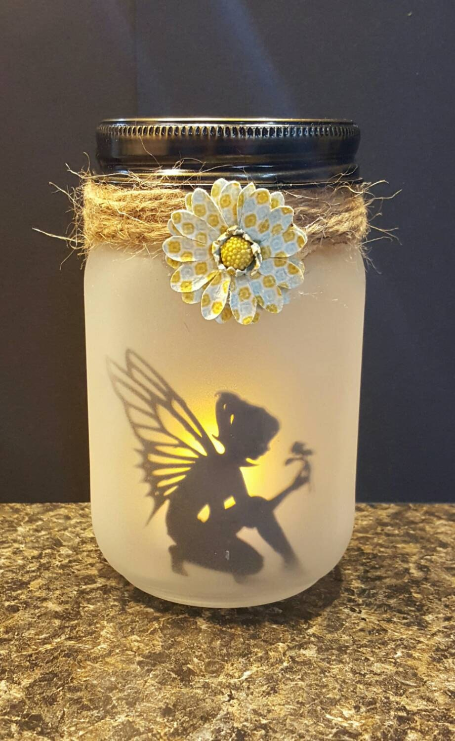 Beautiful Frosted Glass Fairy Lantern Jar Fairy Silhouette
