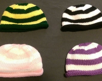 Striped Roll Brim Baby Beanies - Various Colors 2