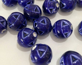 15mm Glazed Porcelain bead 3mm hole
