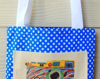 Handmade small tote bag. Camera illustration. 100% cotton