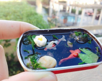 Mini polymer clay goldfish pond in box; Goldfish pond with resin