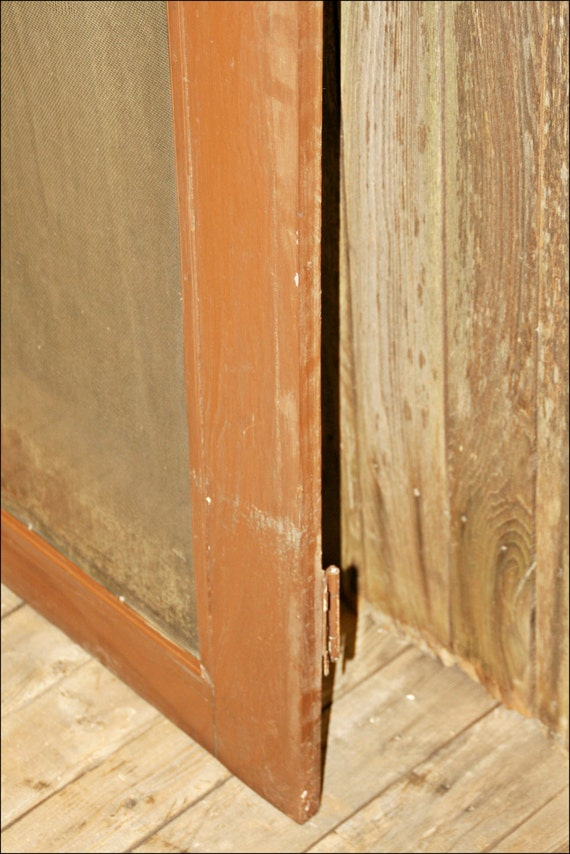 Vintage wood screen door wooden brown country rustic for Old wood doors salvaged