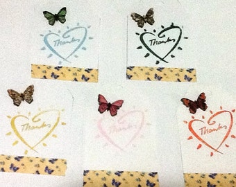 5 Butterfly ButtonThank You Tags
