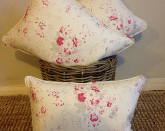 Piped Cushion Cover in Peony & Sage Fleur Linen