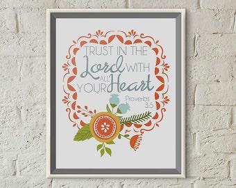 Digital Scripture Print 8x10 -  Proverbs 3:5