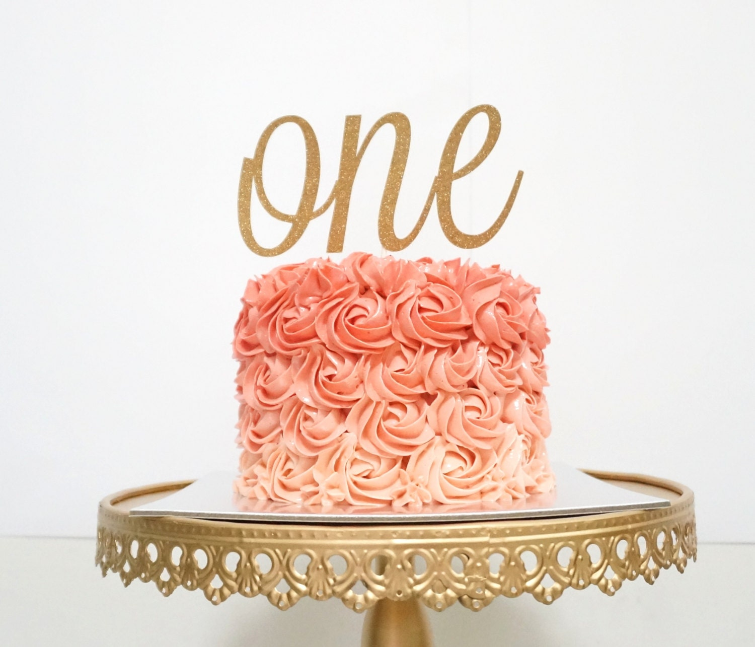One Cake Topper First Birthday Cake Topper Rose Gold by ...
