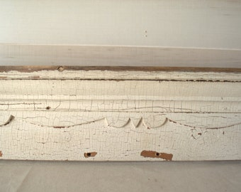 Shabby Chic Shelf, Architectural Molding, Reclaimed Wood Molding, White Cornice Molding, Chippy Wood Shelf
