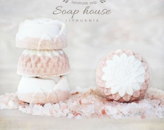 Himalayan Salt Soap - Unscented - Handmade & Homemade Flower Soap - All Natural - TipTopEco - Anti-acne and Anti-sweating Soap