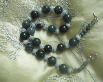 Moss Agate and Amazonite Necklace