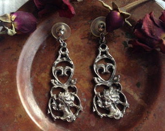 Unique Silver Filagree Vintage Gypsy Cameo Earrings/ Victorian Cameo Boho Earrings/ Gypsy Earrings/ Bohemian Earrings/ Boho Jewelry