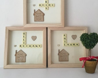 scrabble house picture art new home warming family
