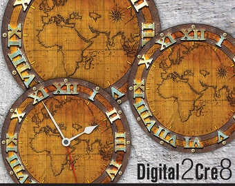 Printable clocks etsy world map antique large clock face 12 and 8 digital downloads diy gumiabroncs Image collections