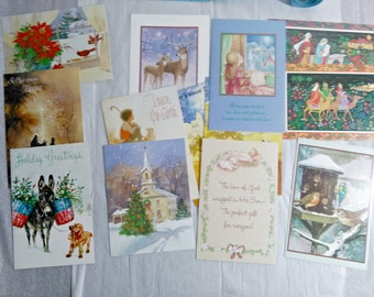Christmas Card Assorted Lot of 13 with Envelopes, Crafts, Scrapbooking