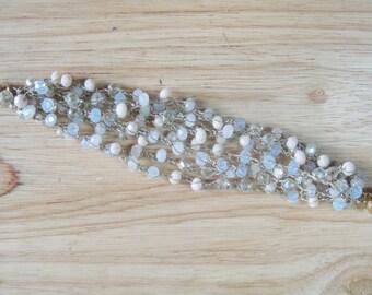 Opal Crystal Crochet Bracelet