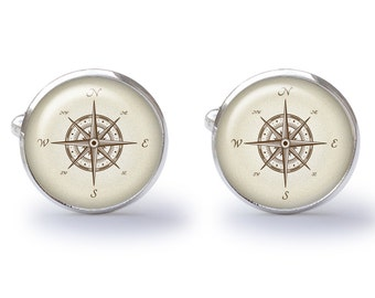 Antique Compass Cufflinks - Map Compass Cufflink - Map Cufflinks - Nautical Cufflink - Nautical Wedding (Pair) Lifetime Guarantee (S0306)