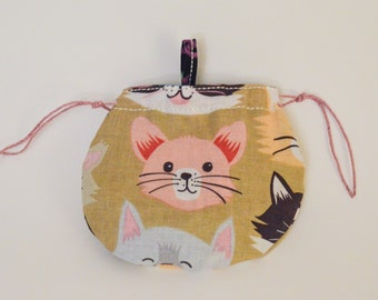 pink cat coin purse, cats coin purse, small bag, cotton bag, cotton purse, kitty bag