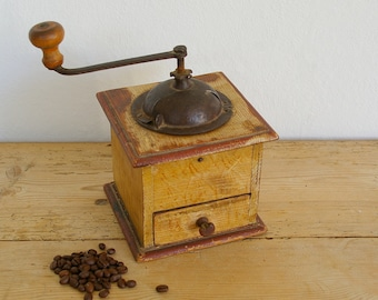 Vintage coffee grinder brown wood.Wood coffee grinder.Vintage coffee mill metal.Country kitchen decor.Coffee lover.Home decor.farmhouse deco