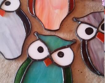 Stained glass owl. orange blue grey wine. Suncatcher. Gift.