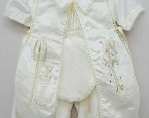Ropon de Bautizo Para Nino Capa Bordada Fresco Heirloom Baptism/Christening Boys Romper Outfit Vintage Victorian Style Robe Outfit Fresh