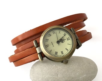Women watch with leather strap light brown finish, winding 5 lap wrist