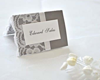 Wedding place cards, lace place cards, wedding placement cards, lace placement cards, gray placement cards, placement cards