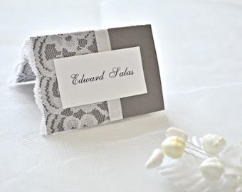 Wedding place cards, lace place cards, wedding placement cards, lace placement cards, gray placement cards, placement cards