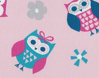 Doodles Collection-Twill Owl Toss Pink Fabric By-the-Yard
