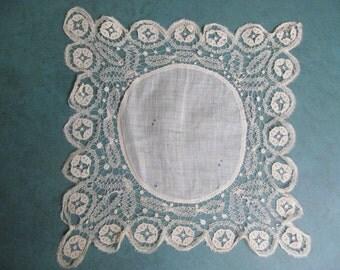 """Antique Lace Handerkchief Brussels Point de Gaze German Cotton Whitework 8"""" Sq."""