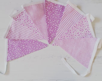 Purple floral bunting
