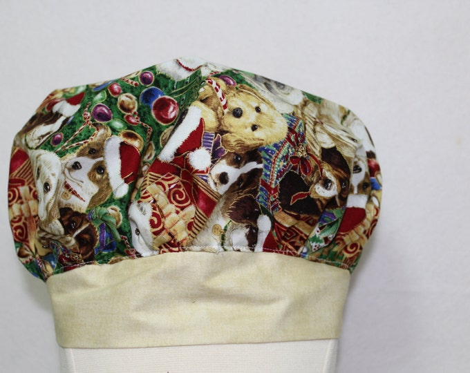 Christmas Surgical Scrub cap, Christmas Puppy dogs scrub cap, Womens scrub cap, Ladies scrub cap, Novelty scrub cap, Holiday scrub cap