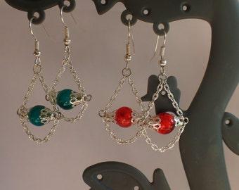 Oriental earrings, earrings with chain, green loops, loops yellow, pink buckles, buckles Orange, grey buckles