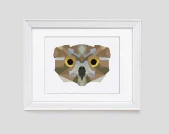 Owl cross stitch pattern, owl counted cross stitch, owl modern cross stitch pattern, owl cross stitch pdf pattern