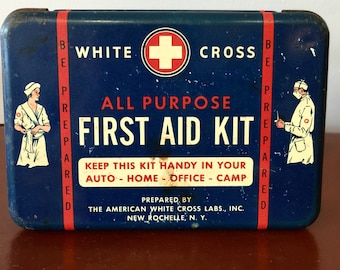 Vintage American White Cross First Aid Kit