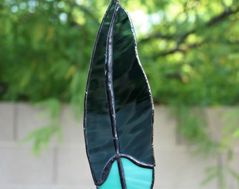 Blue and teal Stained Glass feather Suncatcher