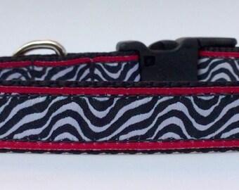 Zebra Dog Collar, Adjustable Dog Collar, Ribbon Dog Collar