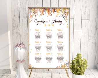 Fall Autumn Find your Seat Chart, Printable Wedding Seating Chart, Wedding Seating Poster, Seating Sign, Wedding Seating Board WD84 WC94