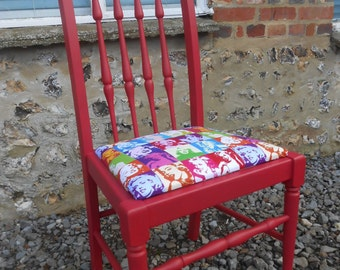 An Individual Bespoke Hand Painted Chair Newly Reupholsterd in A Wacky Marilyn Monroe Fabric