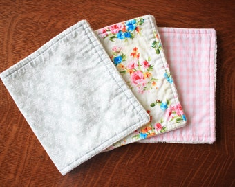 Floral burp cloths - Baby girl burp cloths - Shabby chic burp cloths - Baby girl gift