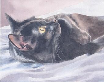 Black Cat Original Watercolor Painting