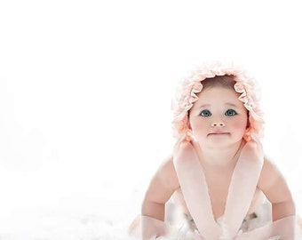 Vintage Style  Shabby Chic Ruffled Baby Bonnet Photography Prop. Newborn, Sitter, Toddler
