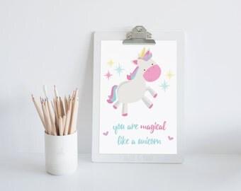 "Whimsical ""You Are Magical Like A Unicorn"" Print - Playroom Print, Classroom Wall Art, Kids Room, Nursery Art."