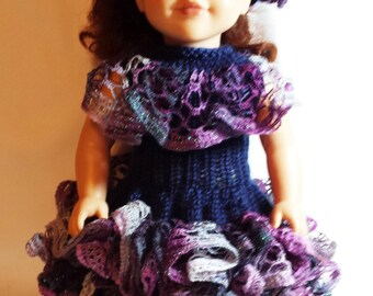 Hand knit 18 inch doll dress & hat, ruffles, midnight blue, purple, orchid, doll clothes