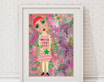 "statement poster, Giclee print ""Enjoy the day"" Giclee Art Print, Art Print of an original painting, whimsical portrait of a girl mixed media"